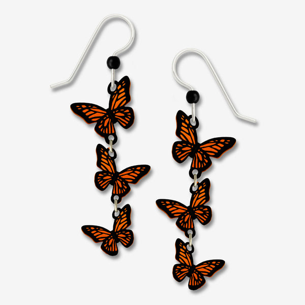 Sienna Sky Earrings: 3-Part 3-D Monarch Butterflies