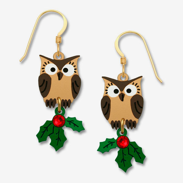 Sienna Sky Earrings: Owl with Christmas Holly
