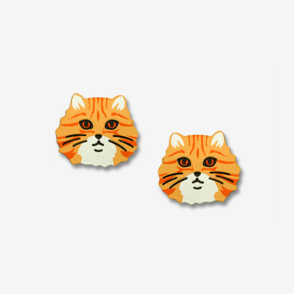 Sienna Sky Post Earrings: Orange Tabby Cat Face