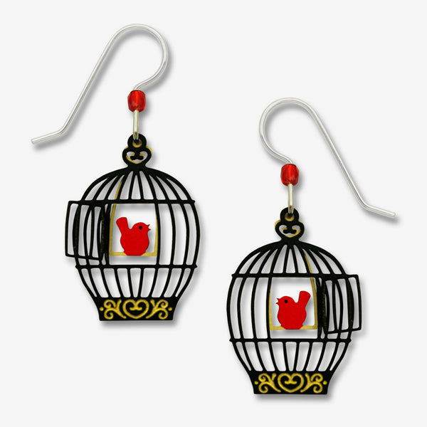 Sienna Sky Earrings: Open Bird Cage with Red Bird On Swing
