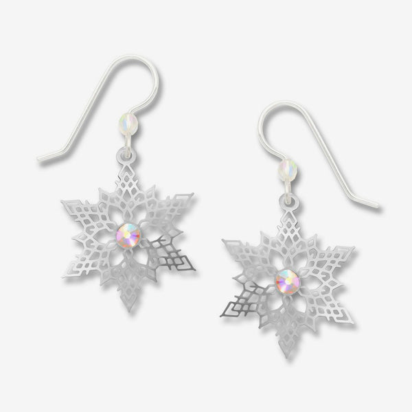 Sienna Sky Earrings: Ir Snowflake with Crystal Rhinestone