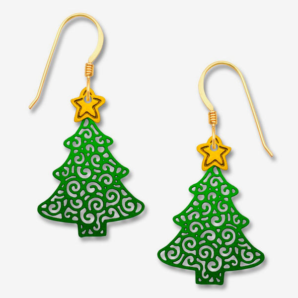 Sienna Sky Earrings: Filigree Christmas Tree with Star