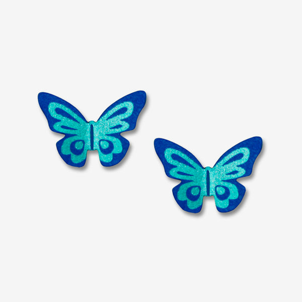 Sienna Sky Post Earrings: 3-D Fantasy Butterfly in Blue