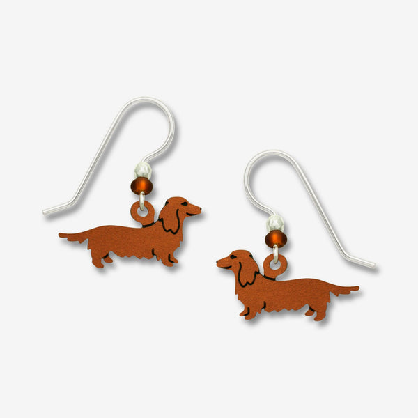 Sienna Sky Earrings: Long Haired Doxie