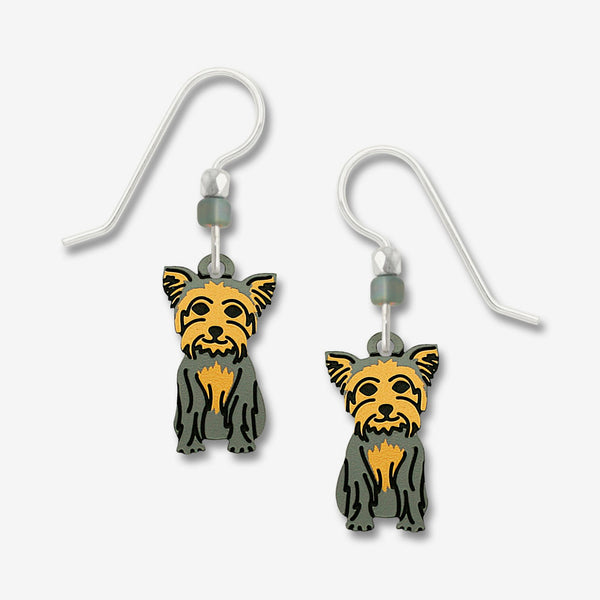 Sienna Sky Earrings: Sitting Yorkie Dog