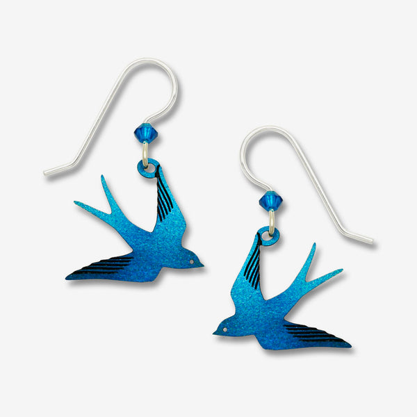 Sienna Sky Earrings: Sapphire Blue Flying Swallow