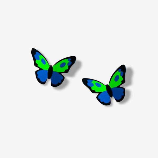 Sienna Sky Post Earrings: Blue/Green/Black Butterfly