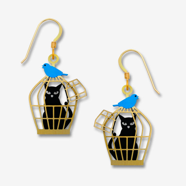 Sienna Sky Earrings: Cat In Cage with Bluebird