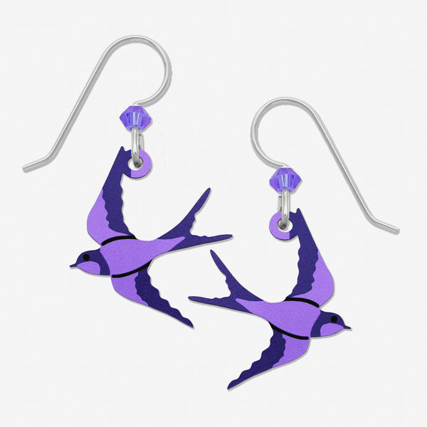 Sienna Sky Earrings: Purple Swallow