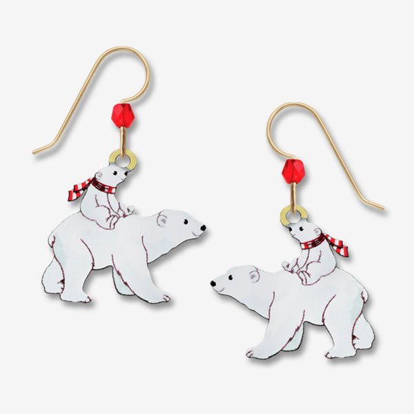 Sienna Sky Earrings: Polar Bear with Cub