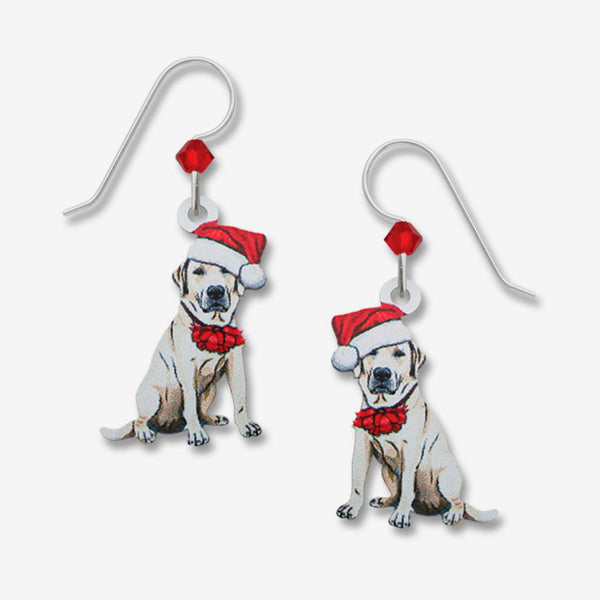 Sienna Sky Earrings: White Lab with Santa Hat