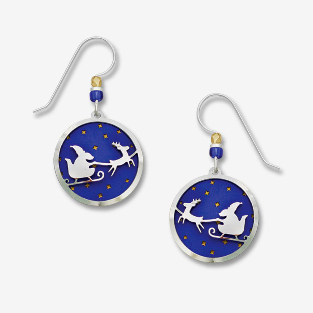 Sienna Sky Earrings: Santa Sleigh Over Blue Starry Night