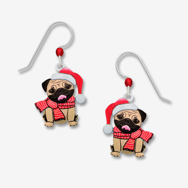 Sienna Sky Earrings: Christmas Pug