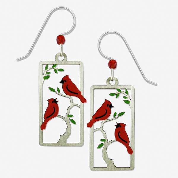 Sienna Sky Earrings: Cardinals in a Tree