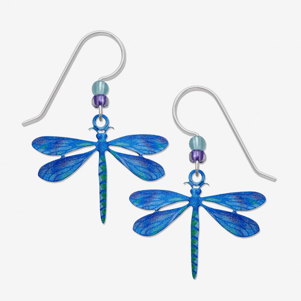 Sienna Sky Earrings: Dragonfly In Blues And Greens