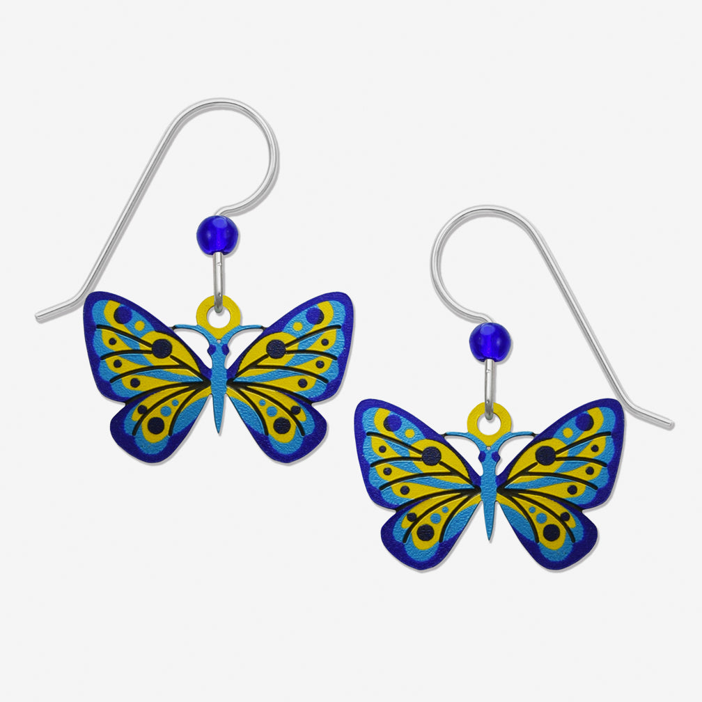 Sienna Sky Earrings: Blue And Yellow Butterfly