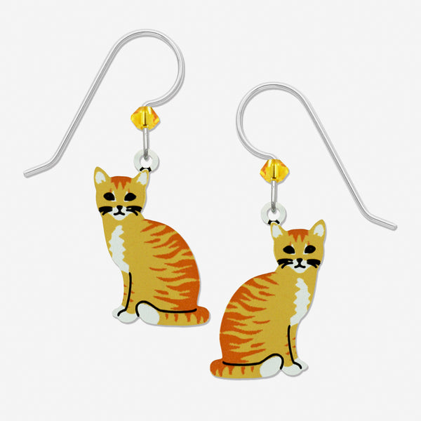 Sienna Sky Earrings: Short Hair Orange Tabby