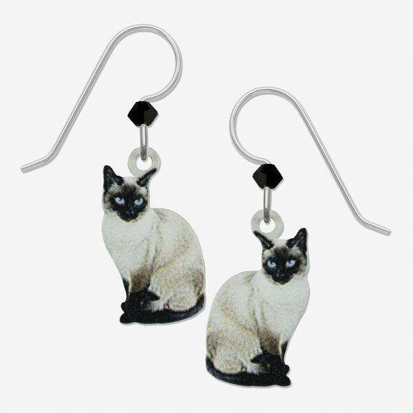 Sienna Sky Earrings: Siamese Cat