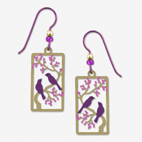 Sienna Sky Earrings: Two Purple Birds On a Branch with Purple Leaves