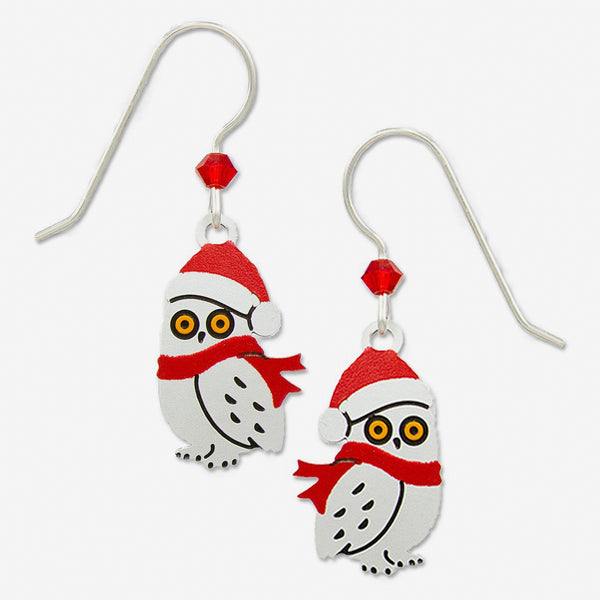 Sienna Sky Earrings: Owl with Scarf and Santa Hat