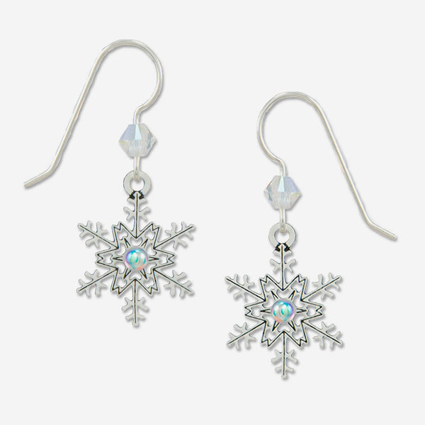 Sienna Sky Earrings: Snowflake with Crystal