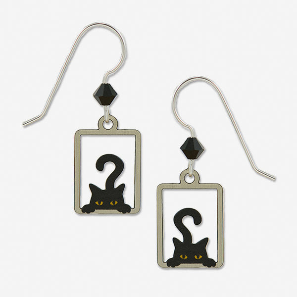 Sienna Sky Earrings: Peek a Boo Black Cat in Rectangle