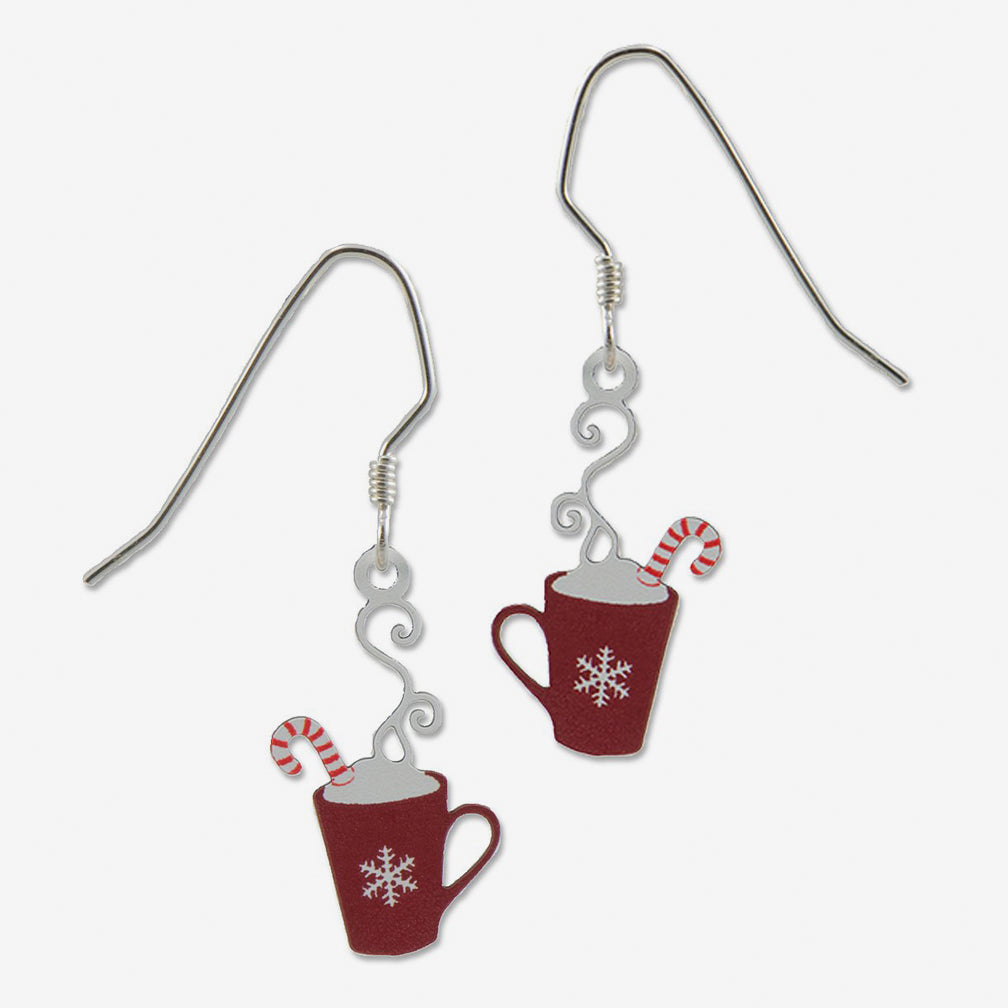 Sienna Sky Earrings: Red Mug with Snowflake, Whip Cream, And Candy Cane