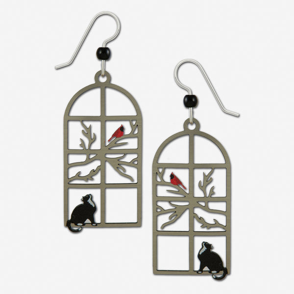 Sienna Sky Earrings: Cat Watching Bird In Window