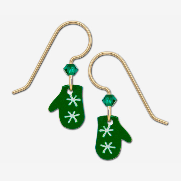 Sienna Sky Earrings: Green Christmas Mittens