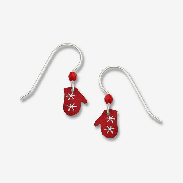 Sienna Sky Earrings: Red Mittens with Snowflakes