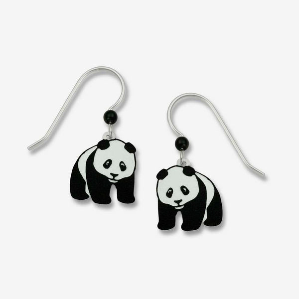 Sienna Sky Earrings: Panda Bear Hand-Painted