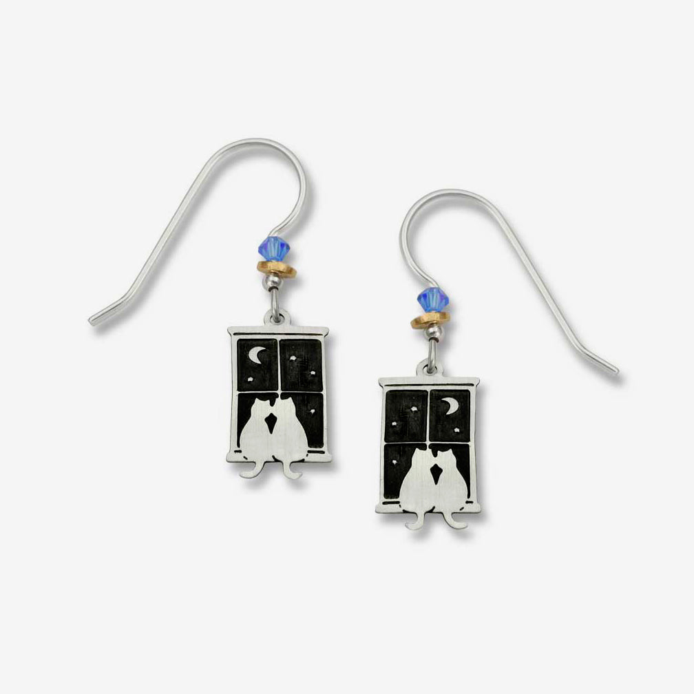 Sienna Sky Earrings: Kitty Pals in Window