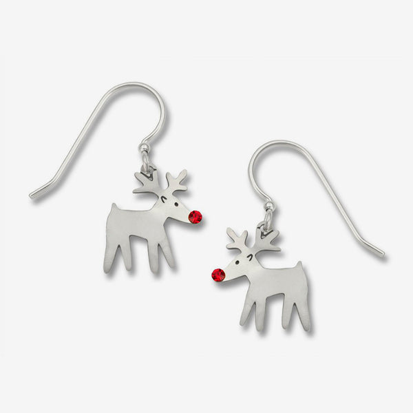 Sienna Sky Earrings: Rudolph Reindeer with Red Crystal Nose