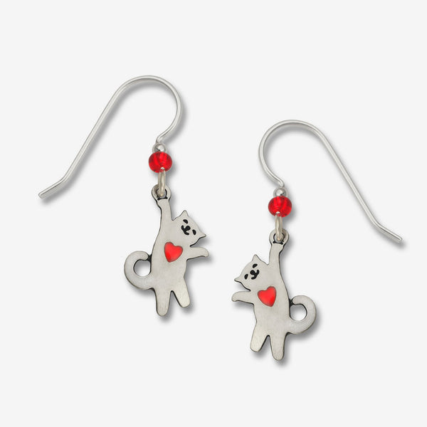 Sienna Sky Earrings: Hanging Cat with Red Heart
