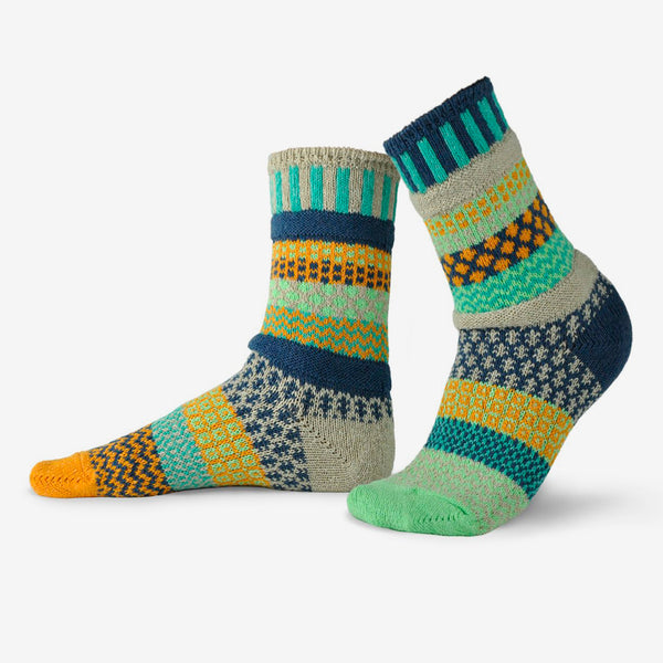 Solmate Socks: Adult Crew Socks: Aloe