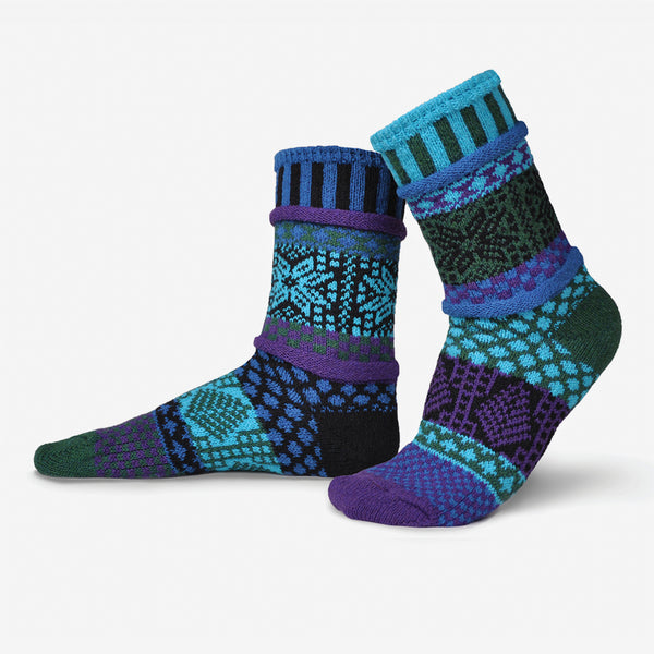 Solmate Socks: Adult Crew Socks: Blue Spruce