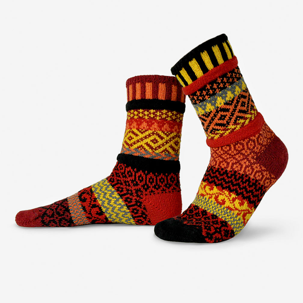 Solmate Socks: Adult Crew Socks: Fire
