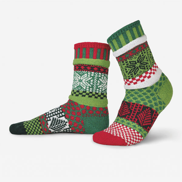 Solmate Socks: Adult Crew Socks: Mistletoe