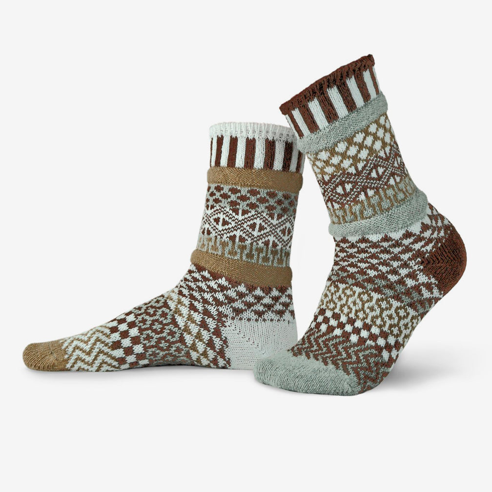 Solmate Socks: Adult Crew Socks: Pine Cone