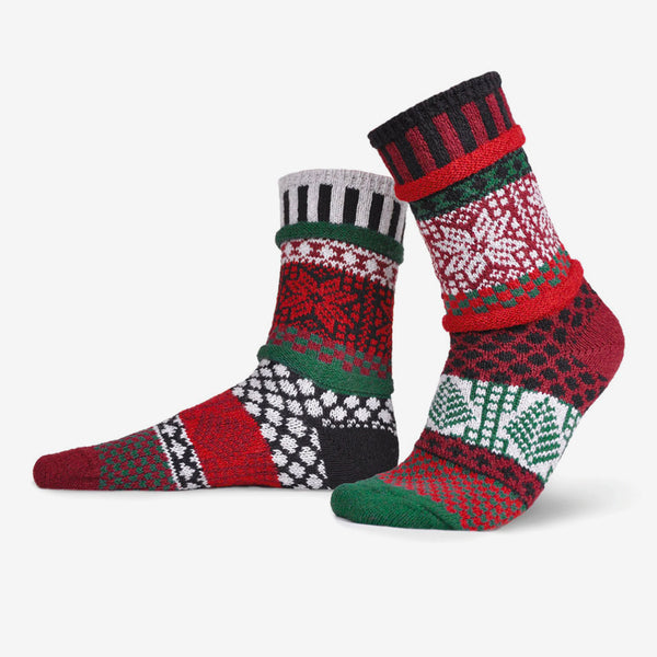 Solmate Socks: Adult Crew Socks: Poinsettia