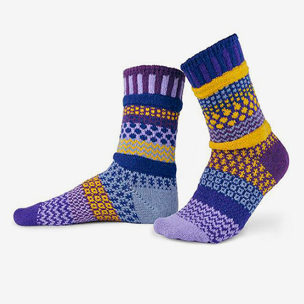 Solmate Socks: Adult Crew Socks: Purple Rain