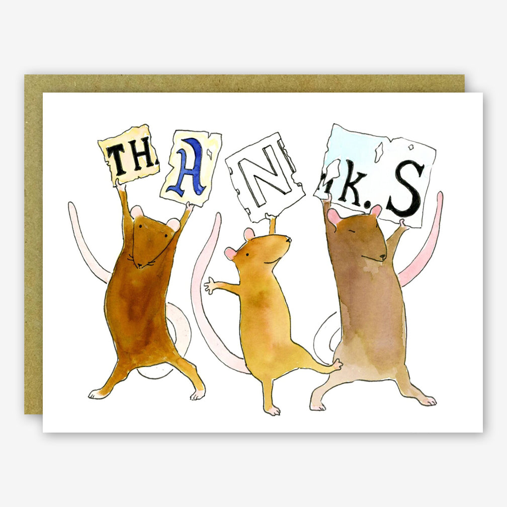 SquidCat, Ink Thank You Card: Thanks Rats