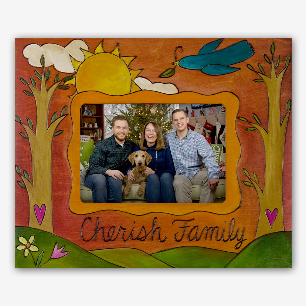 Sticks: 5x7 Photo Frame: Cherish Family (Blue Bird)