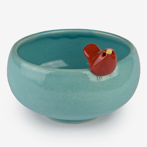 Tasha McKelvey: Medium Aqua Ceramic Bird Bowl