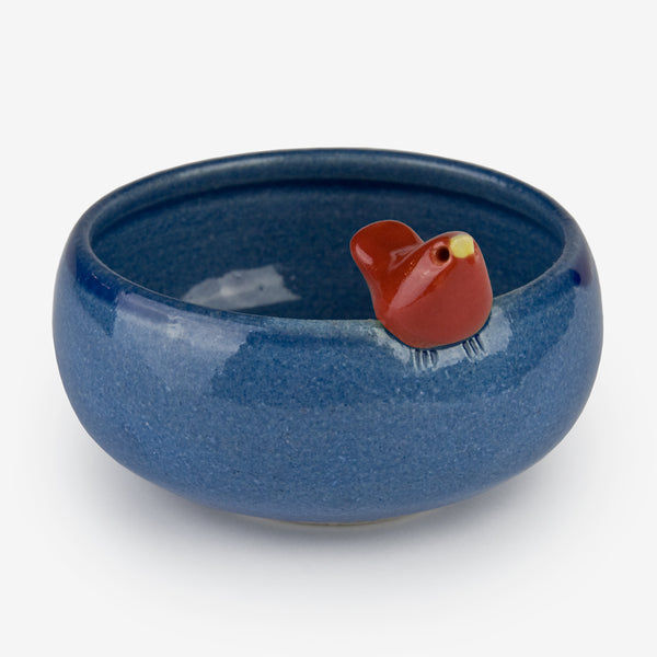 Tasha McKelvey: Small Dark Blue Ceramic Bird Bowl