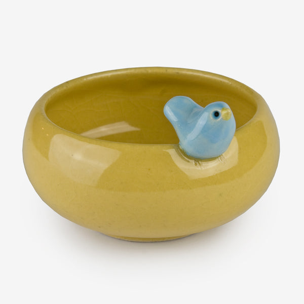 Tasha McKelvey: Small Yellow Ceramic Bird Bowl
