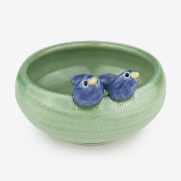 Tasha McKelvey: Small Green Ceramic Bird Pair Bowl