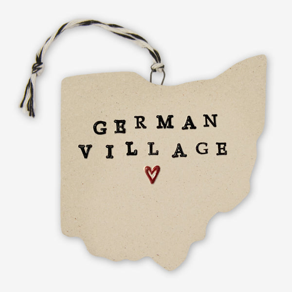 Tasha McKelvey: Ceramic German Village, Ohio Ornament