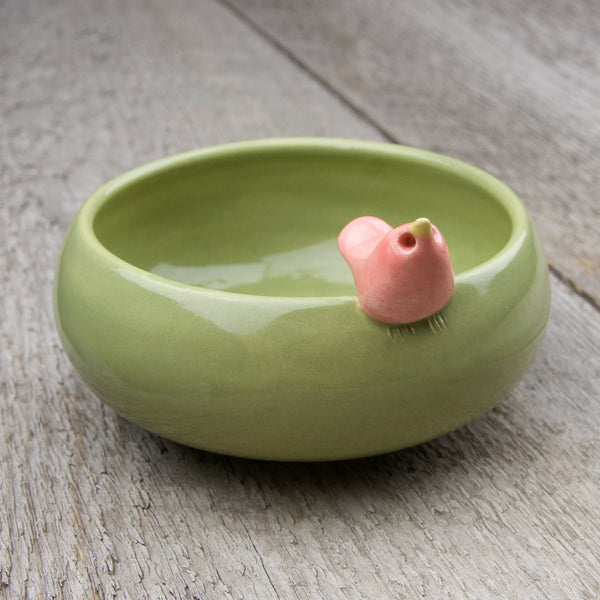 Tasha McKelvey: Small Ceramic Bird Bowl: Green/Pink