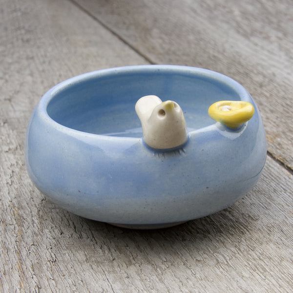Tasha McKelvey: Small Ceramic Bird Bowl with Nest: Blue/White
